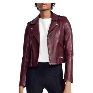 Maje Basilta Bordeaux Leather Jacket Sz40